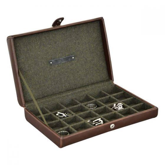 """קופסא מחולקת לחפתים חום-ירוק זית """"Jacob Johns"""" סדרת קיימבריג'"""