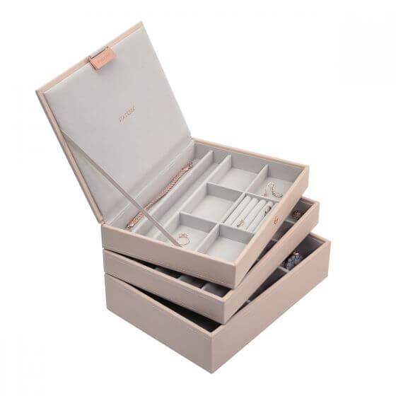 קופסת תכשיטים מודולרית 3 קומות גודל קלאסיק Stackers – ורוד בלאש
