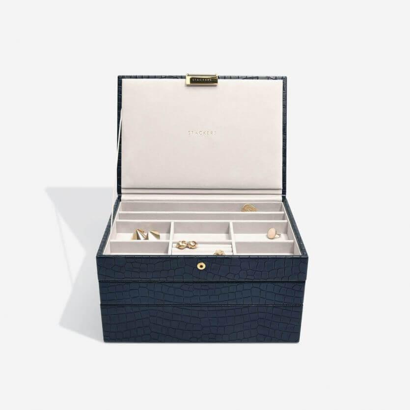 קופסת תכשיטים מודולרית 3 קומות קלאסיק Stackers – כחול דמוי נחש